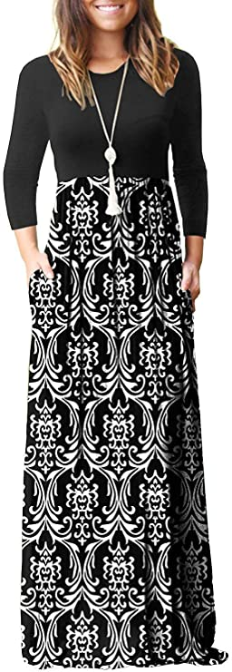HAOMEILI Womens Long Sleeve Loose Plain Long Maxi Casual Dresses with Pockets